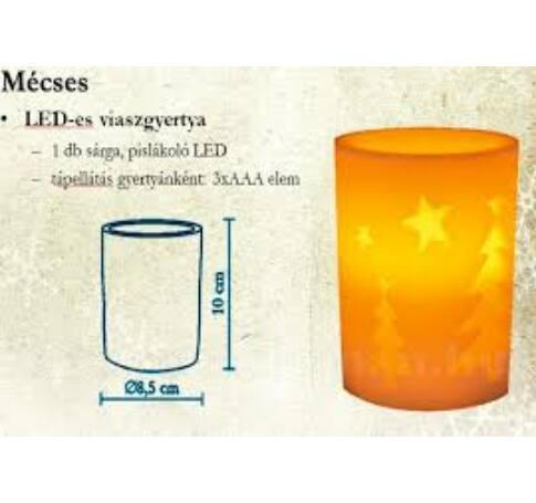 LED-es viaszgyertya, fenyő minta, Ø 8cm x 10 cm