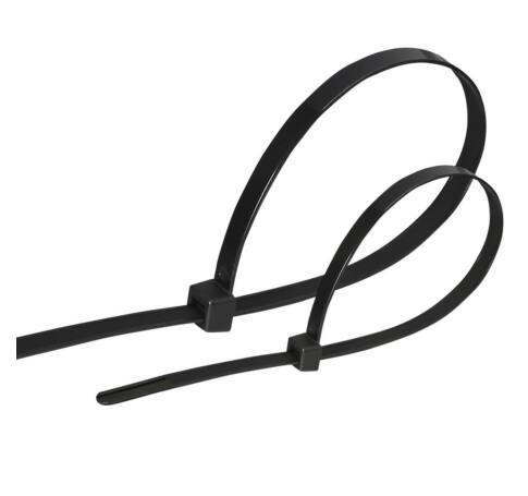 Kábelkötegelő, 380x4.7mm, fekete, 100db, PVC, egyszer zárható