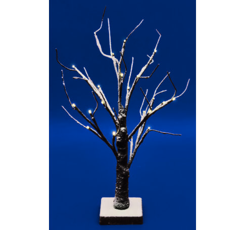 LED-es asztali fa dekoráció, 45 cm magas, 24 db melegfehér LED