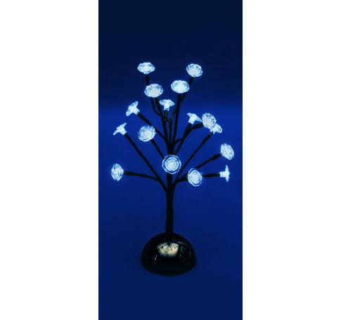 LED-es asztali fa dekoráció, 38 cm magas, 16 db hidegfehér LED
