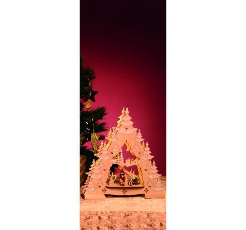 LED-es asztali dísz, karácsonyfa, natur
