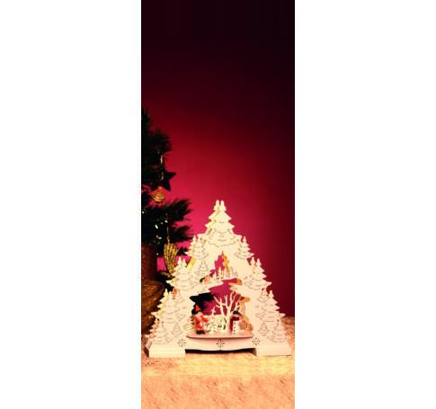 LED-es asztali dísz, fenyőfa, fehér, 3V