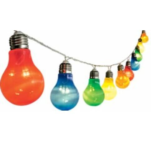 LED-es villanykörte fényfüzér, kültéri kivitel, 10 db színes, műanyag villanykörte, 30 LED, 25 cm villanykörte távolság