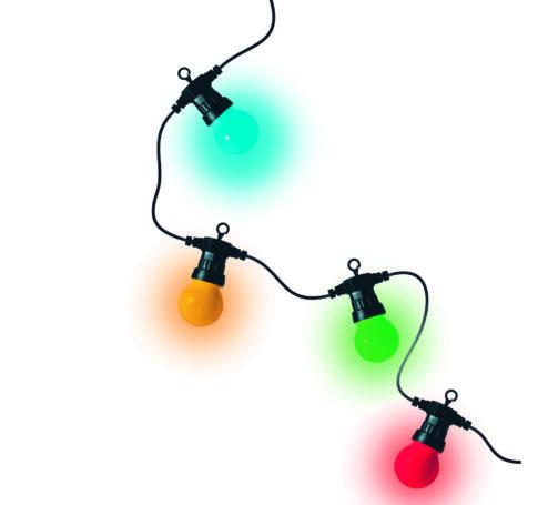 LED-es izzósor, gömb alakú, színes, 10db-os, 230V